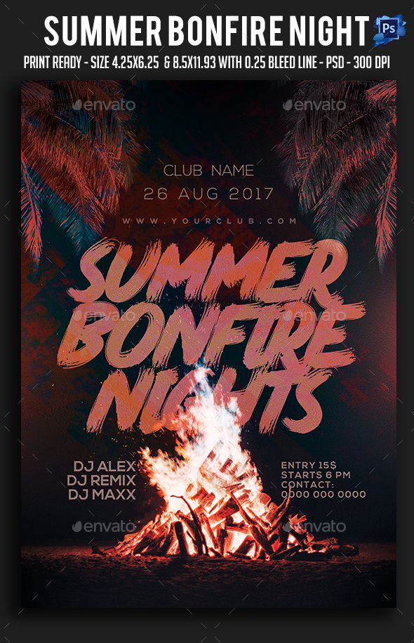 Summer Bonfire Night Party Flyer - Clubs & Parties Events