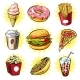 Vector Pop Art Set of Trendy Fast Food Patches - GraphicRiver Item for Sale