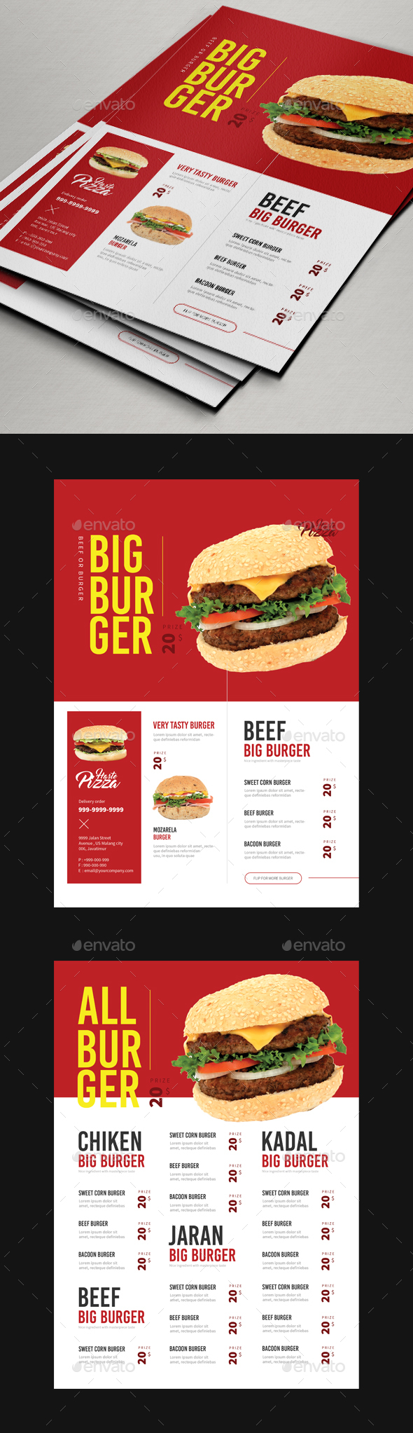 Burger Flyer or Menu - Restaurant Flyers