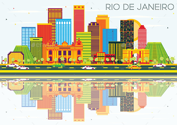 Rio De Janeiro Skyline with Color Buildings, Blue Sky and Reflections. - Buildings Objects