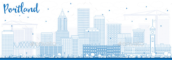 Outline Portland Skyline with Blue Buildings. - Buildings Objects