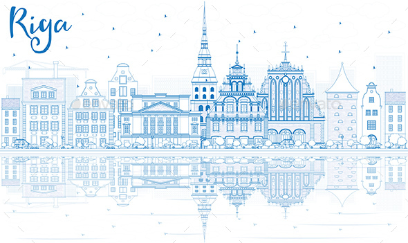 Outline Riga Skyline with Blue Landmarks and Reflections. - Buildings Objects