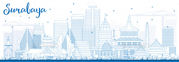 Outline Surabaya Skyline with Blue Buildings. - Buildings Objects