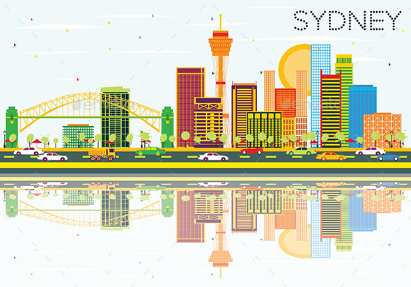 Sydney Skyline with Color Buildings, Blue Sky and Reflections. - Buildings Objects