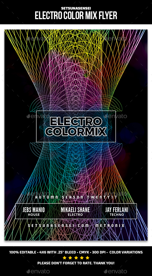 Electro Color Mix Flyer - Clubs & Parties Events