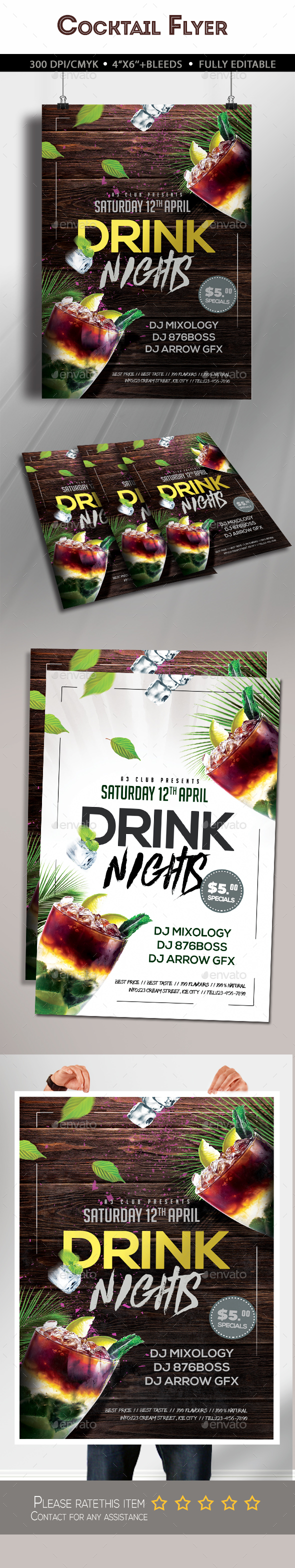 Drink Nights Flyer - Clubs & Parties Events