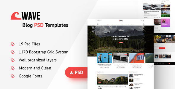 Wave Blog PSD Template - PSD Templates