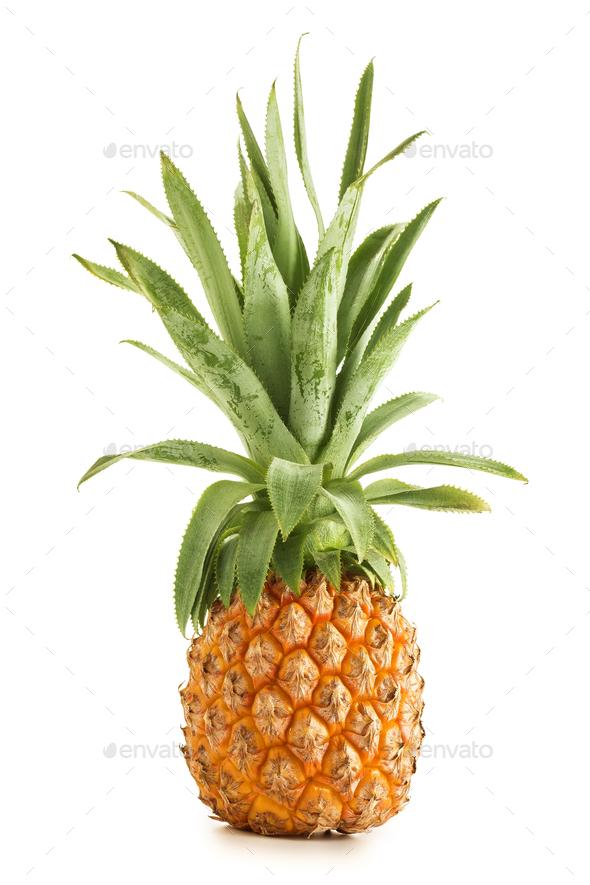 ripe pineapple isolated on white background - Stock Photo - Images