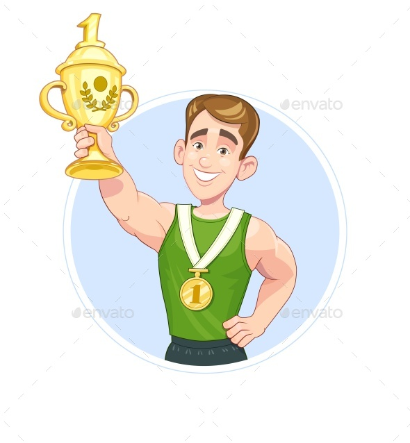 Winner Sportsman with Cup and Medal Vector - Vectors