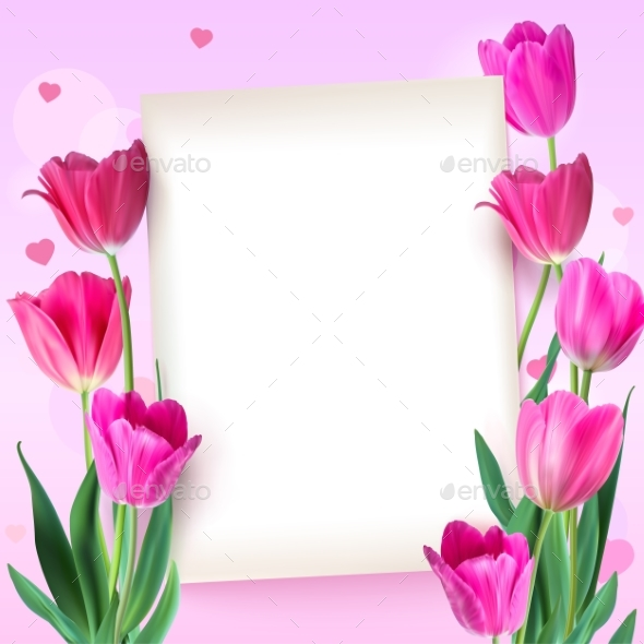 Greeting Card with Tulips Around the Sheet - Flowers & Plants Nature