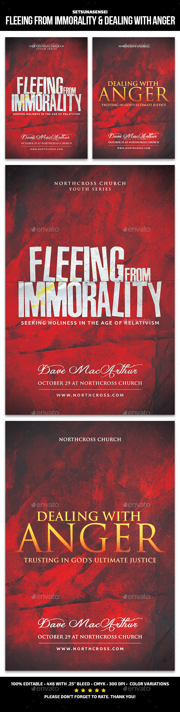 Fleeing from Immorality & Dealing with Anger Church Flyer - Church Flyers