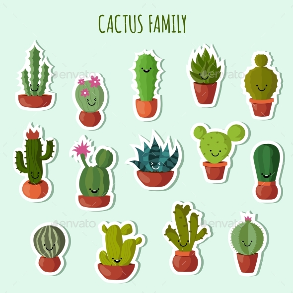 Funny Plants Vector Collection.  - Organic Objects Objects