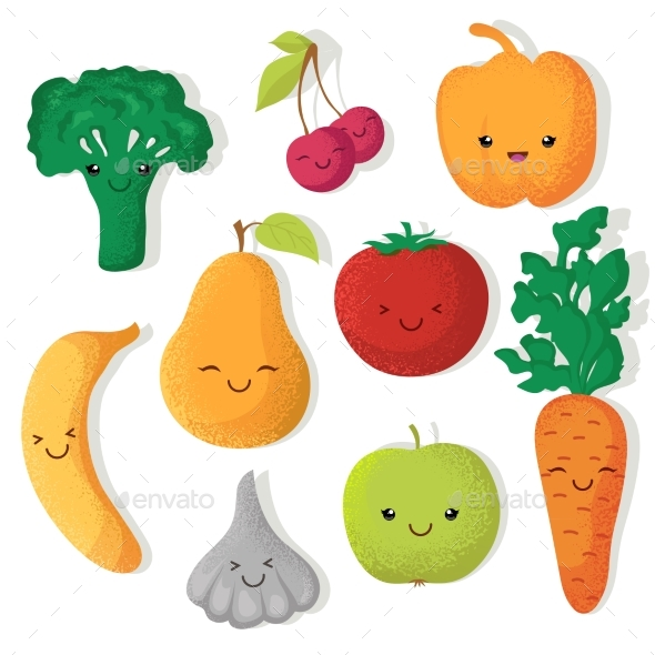 Cartoon Fruits and Vegetables Vector - Food Objects