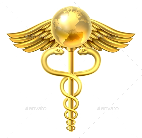Caduceus Globe Medical Symbol Concept - Health/Medicine Conceptual