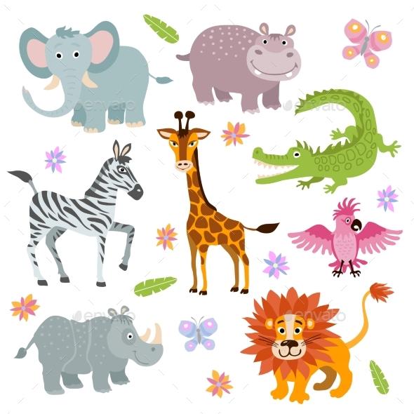 Cartoon African Savanna Animals Vector Set - Animals Characters