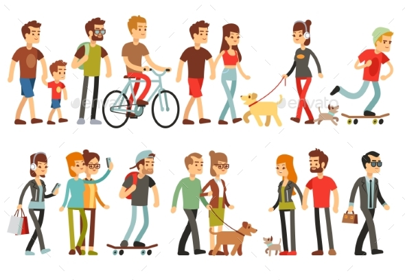 Women and Men in Various Lifestyles. Cartoon - People Characters