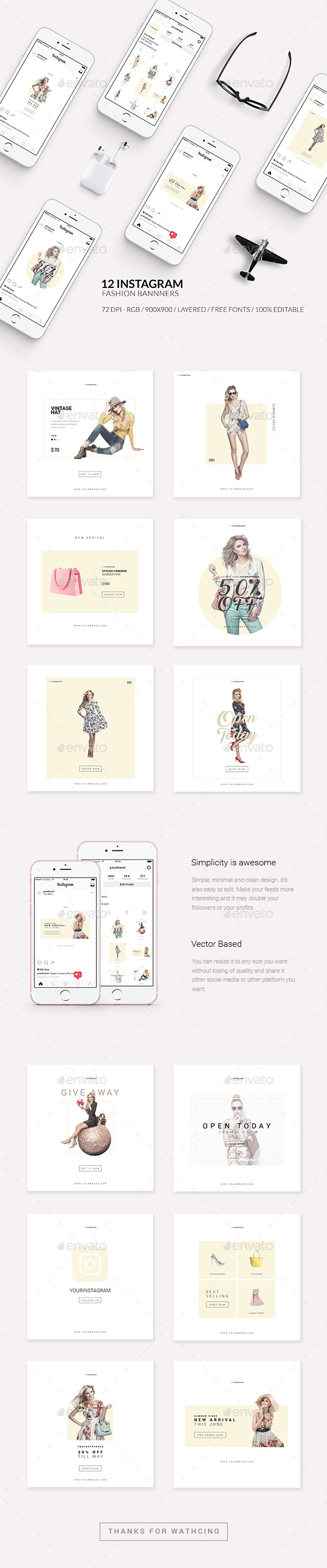 Fashion Instagram Promotional Template - Web Elements