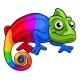 Chameleon Cartoon Rainbow Mascot