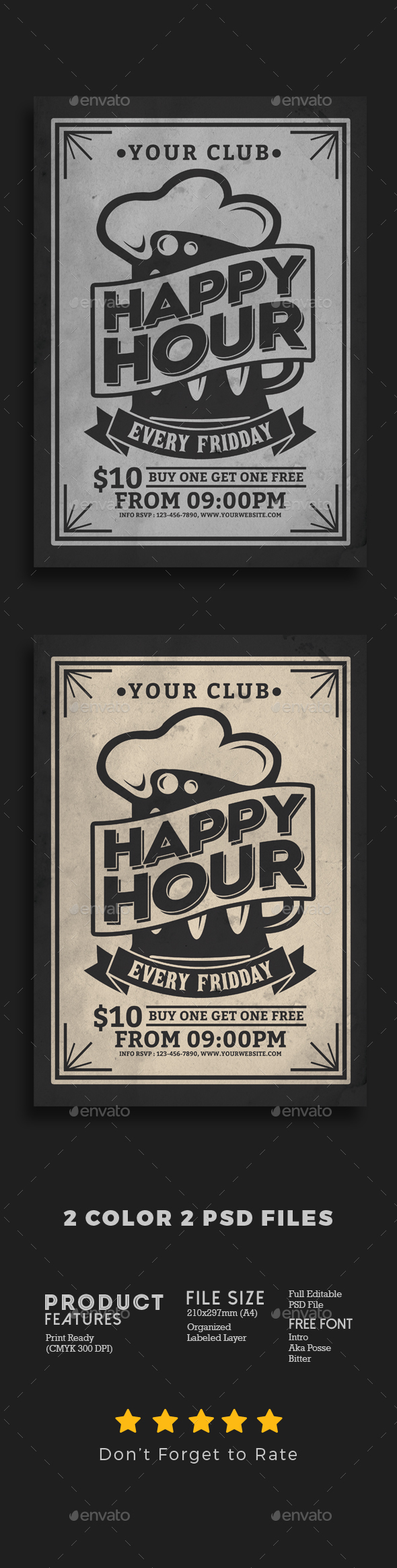 Happy Hour Vintage Flyer - Events Flyers