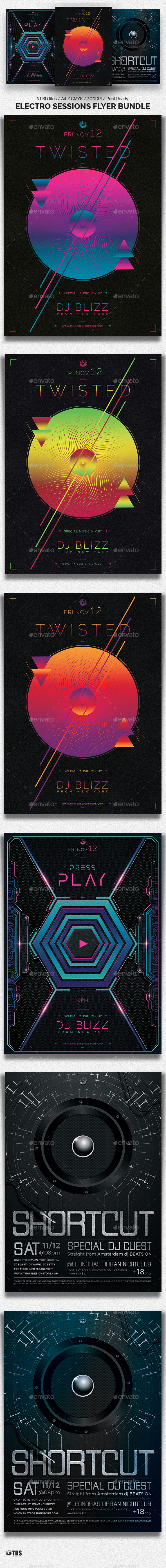 Electro Sessions Flyer Bundle - Clubs & Parties Events