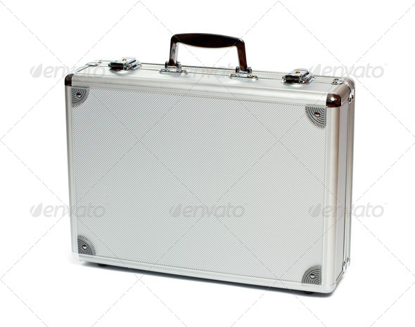 Silver metal briefcase - Stock Photo - Images