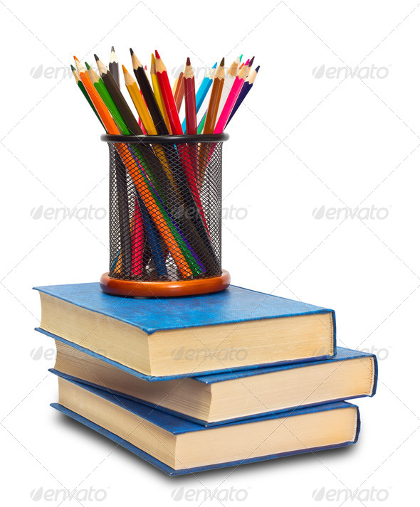 Book and pencils - Stock Photo - Images