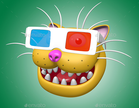 Cartoon Smiling Cat Head in 3D Glasses - Characters 3D Renders
