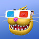 Cartoon Smiling Cat Head in 3D Glasses - GraphicRiver Item for Sale