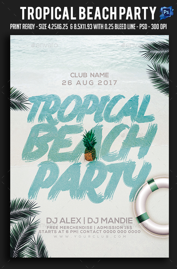 Tropical Beach Party Flyer - Clubs & Parties Events