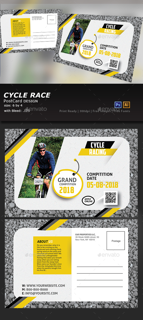 Bicycle Racing Post Card - Flyers Print Templates