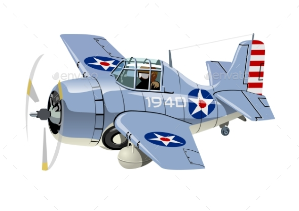 Cartoon Retro Fighter Plane - Man-made Objects Objects