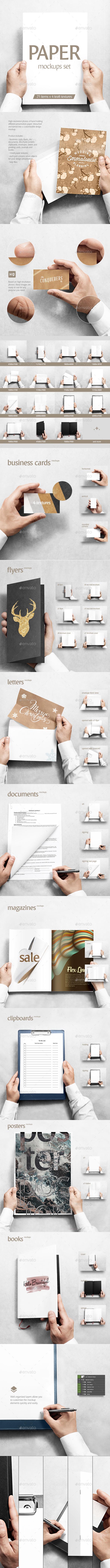 Paper Mockups Set - Print Product Mock-Ups