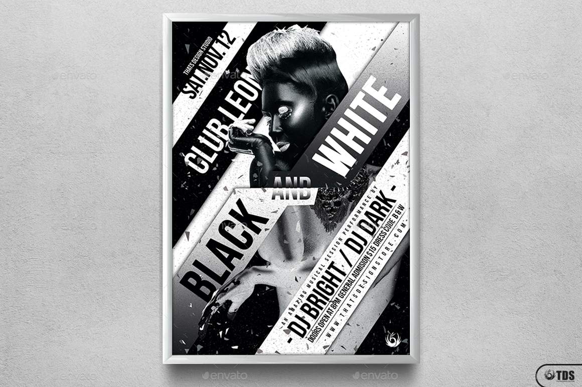 Black And White Party Flyer Template By Lou606 Graphicriver