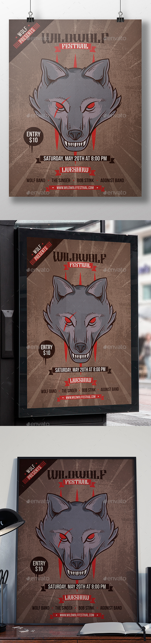 Wild Wolf Flyer Template - Concerts Events