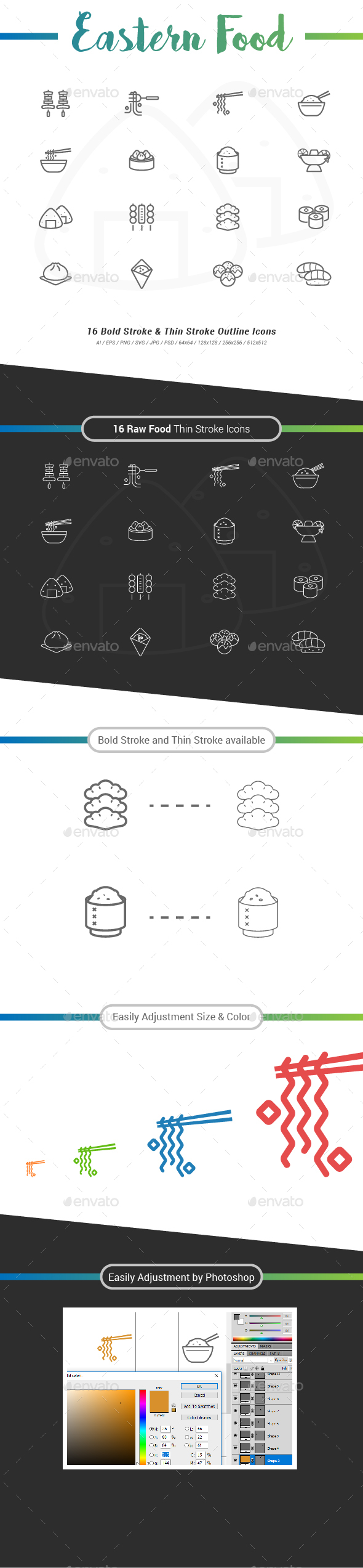 16 Eastern Food Outline Stroke Icons - Food Objects