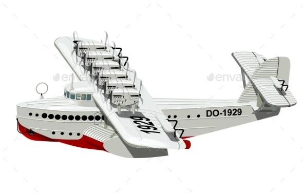Cartoon Retro Sea Plane - Man-made Objects Objects