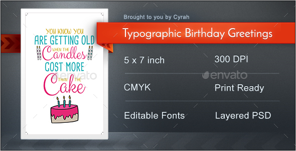 Typographic Birthday Greeting Cards - Birthday Greeting Cards