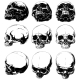 Realistic Horror Detalied Graphic Human Skulls Set - GraphicRiver Item for Sale