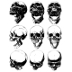 Realistic Detailed Graphic Skulls Vector Set - GraphicRiver Item for Sale