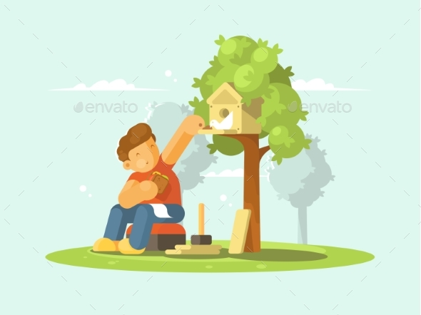 Boy Feeding Bird in Birdhouse - People Characters