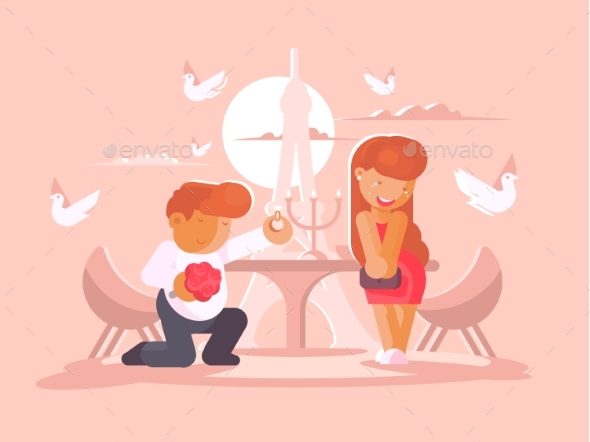 Young Guy Proposes to Marry Girlfriend - People Characters