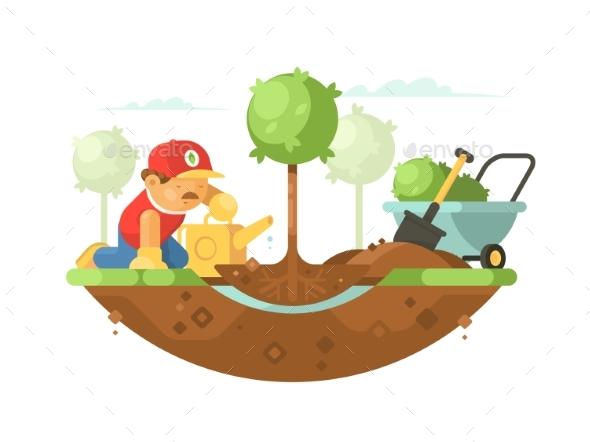 Gardener Watering Seedling - People Characters