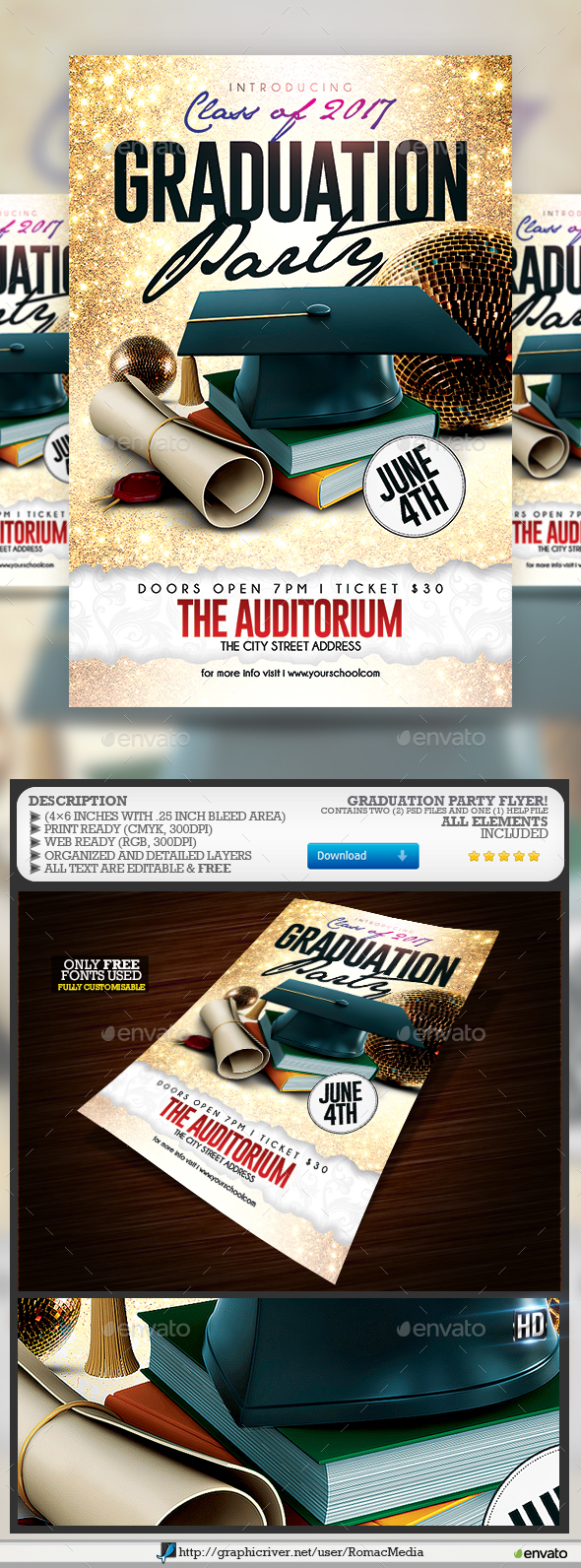 Graduation Party Flyer - Flyers Print Templates