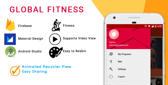 Multipurpose Android Fitness/body building application with Material Design and Firebase integration - CodeCanyon Item for Sale