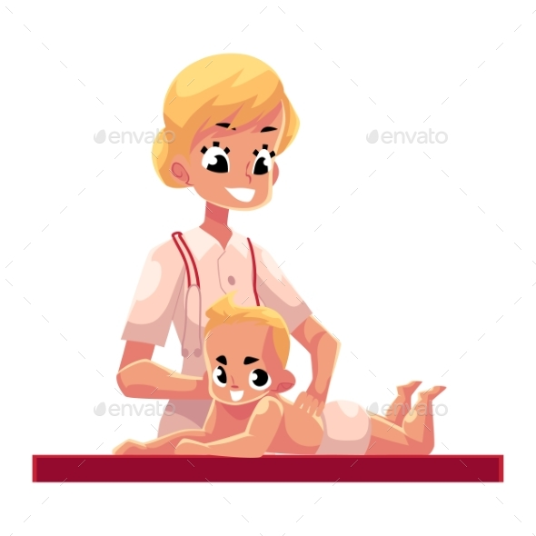 Therapist Doing Baby Massage - People Characters
