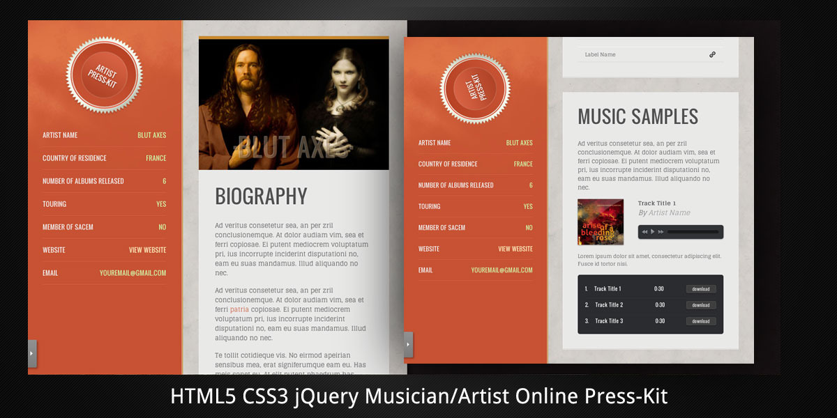 Musician/Artist Html5 Online Press-Kit By Virtuti | Themeforest