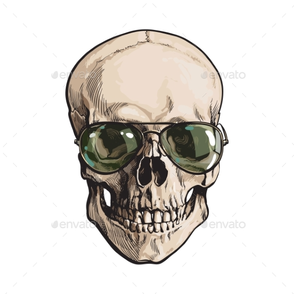 Hand Drawn Human Skull Wearing Green Aviators - People Characters
