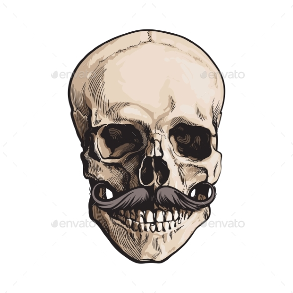 Human Skull with Curled Upward Hipster Mustache - People Characters