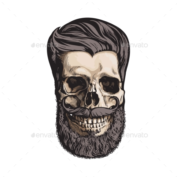 Human Skull with Hipster Hairdo and Beard - People Characters