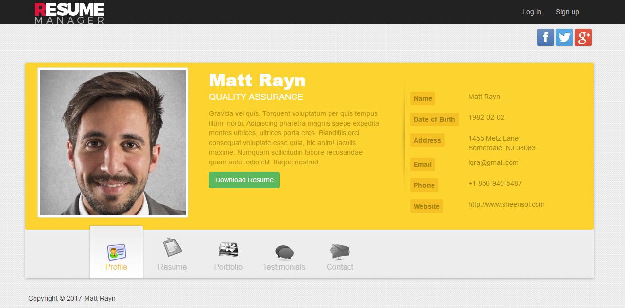 Premium   Multiuser Resume Manager  Web Resume